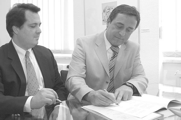 Peter Ohser und Oberbürgermeister Ralf Oberdorfer