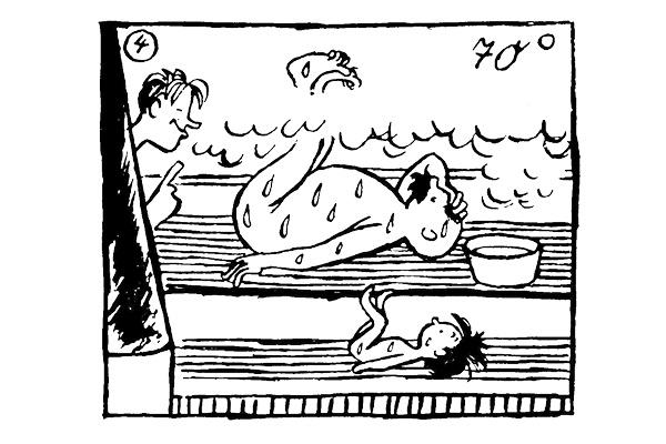 In der finnischen Sauna, 1936, im »Der Dorfbote«-Anzeiger für das olympische Dorf