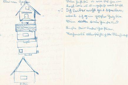 Christian Ohser, Brief an seinen Vater, 1943, Tusche auf Papier